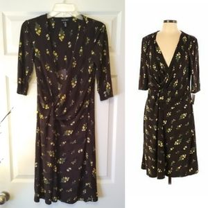ELLEN TRACY ruched brown yellow floral dress Small
